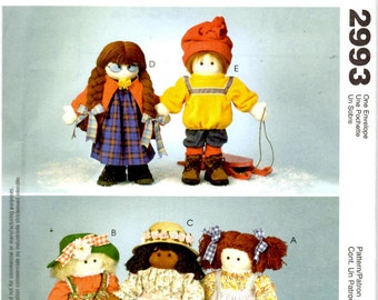 """McCall's Crafts 2993 Sewing Pattern - 22"""" Dolls and Clothing"""