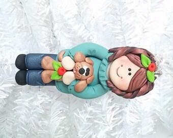 Dog Owner Christmas Ornament  - Dog Lover Gift - Pet Owner Gift - Polymer Clay Dog Owner - Dog Owner Gift  - 7195