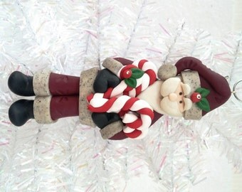 Handmade Santa Claus Christmas Ornament   Rustic Christmas Present   Woodland Santa with Candy Canes Ornament   Country Ornament - 9193