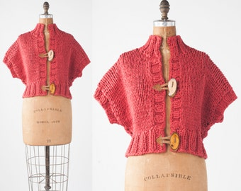 Rare Susan Riedweg Sweater: Vintage Designer Boho Chunky Boxy Knit Red Cotton Cardigan with Tree Branch Buttons, Boho Avant Garde