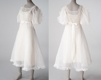 1930s White Organza Party Dress, Antique Sheer Cotton Dress, 30s Bridal Wedding Dress, Women's Clothing, Dresses