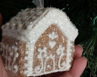 Gingerbread House Christmas Ornament OOAK Heirloom Vintage Style 3-D Keepsake Ornament Tree and Garland Decoration