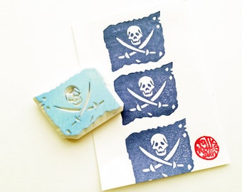 halloween stamp. pirate ship flag hand carved rubber stamp. skull stamp. halloween scrapbooking. boy's birthday gift wrapping. party prop