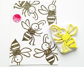 honey bee stamp. hand carved rubber stamp. woodland stamp. birthday scrapbooking. spring crafts. gift wrapping. handmade by  talktothesun