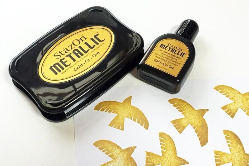 Gold Stazon Metallic Ink Pad Set Tsukineko Stamp Ink Pad With