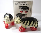 RESERVED for Sue: Black and White Cat Salt and Pepper Shakers with Box and Red Shoes, Vintage Ceramic Collectibles