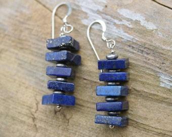 Lapis Lazuli Earrings, Lapis Dangle Earrings, Blue Stone Earrings, Lapis Earrings, Blue Lapis Earrings, Lapis Lazuli, Gift for her
