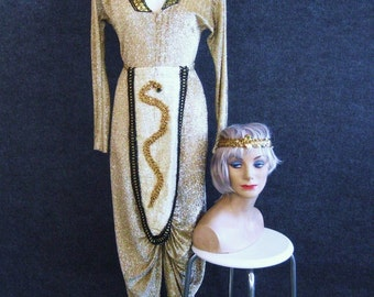Vintage Cleopatra Egyptian Goddess Costume Gold Dress & Snake Headband, 70s Sparkle Lame Lurex Knit Evening Gown, Long Sleeve, Bust up to 36