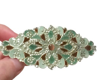 Hand Painted Hair Ornament in Green and Bronze