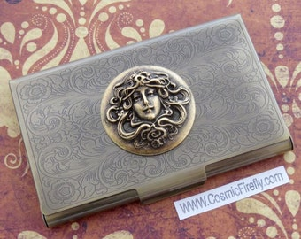 Art Nouveau Business Card Case Card Case Antiqued Brass Card Case Metal Card Holder Neo Victorian Steampunk Woman's Card Case Feminine Gifts