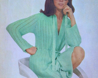 Vintage Knitting PDF Pattern Lacy Dressing Gown 70s Medium 10-14 Instant PDF Pattern Download