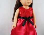 """18"""" Girl Doll Clothes, Red Satin Sequin Doll Dress, Red Formal Prom Doll Dress, American Made 18"""" Doll Clothes, girl christmas gift"""