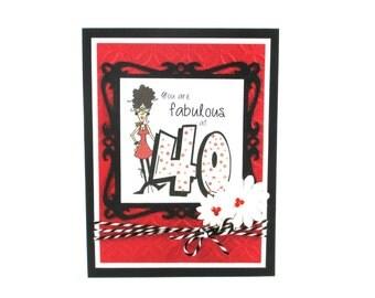 40th birthday card, happy birthday, funny birthday card, fabulous at 40, embossed birthday card, womens birthday