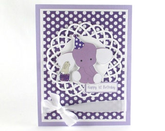 1st birthday card, first birthday, elephant, purple, babys first birthday, PERSONALIZED