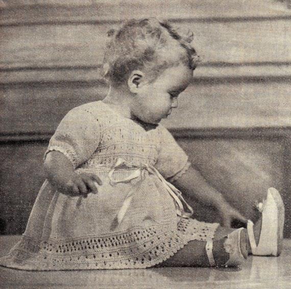 Free Vintage Knitting Patterns To Download : Items similar to PDF Baby Knitting Pattern / Vintage Baby Dress Pattern / Kni...