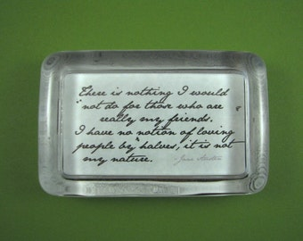 """Jane Austen """"Northanger Abbey"""" Quotation Rectangle Glass Paperweight - My Friends"""