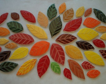 41OW - 41 pc Beautiful FALL LEAVES Set - Ceramic Mosaic Tiles