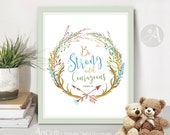 Printable Artwork digital download Scripture Bible verse, BE STRONG and COURAGEOUS, Joshua 1:9. Typography art for nursery decor by ArtCult