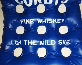 Vintage Corby's Barclay Whiskey Shot Glass Holder Inflatable Blow-up Stadium Seat Pillow advertising