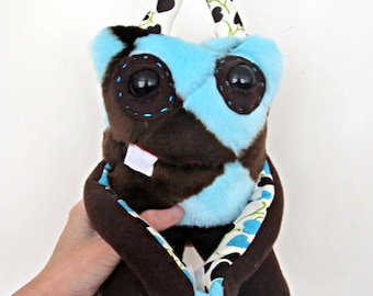 Monster Plush - Handmade Plush Monster - Brown and Blue Faux Fur - Hand Embroidered Soft Toy - Soft Monster Toy - Weird Cute Stuffed Toy