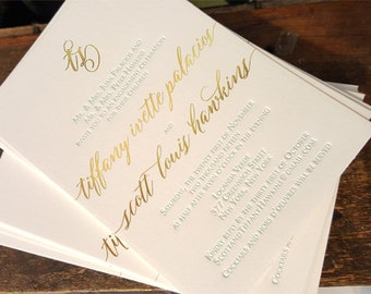 Gold Foil and Letterpress Engagement Party Invitations, Gold and Turquoise Wedding Invitations