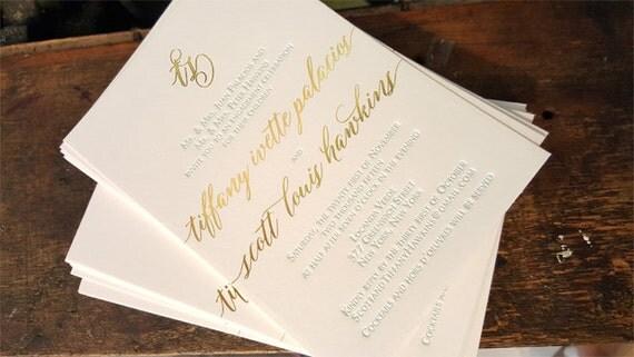 Gold Foil and Letterpress Engagement Party Invitations Gold – Letterpress Party Invitations