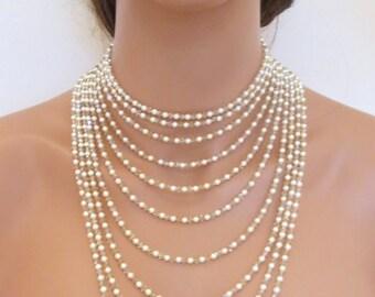 Pearl Wedding necklace, Statement Bridal necklace, Bridal jewelry, Multi strand necklace, Swarovski crystal necklace, Backdrop necklace