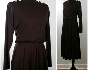 Vintage Knit Dress, Fall / Autumn 80s Black Knit Secretary Dress, Long Sleeve Midi by Jessica Howard, Work Wear Dress, Size Small 4 Petite