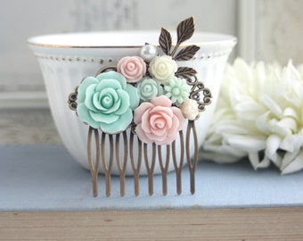 Pink and Mint Floral Collage Comb, Romantic Bridal Hair Comb, Rustic Wedding Rose Comb, Pearl Leaf Hair Accessories, Pink Bridesmaids Gifts