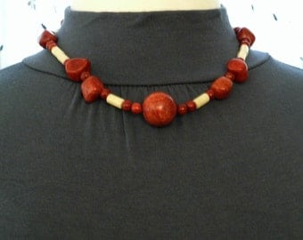 Coral necklace made with red sponge coral and white coral, 19 inches long