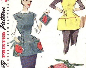 Cobbler, Working, Butcher or Cooking Apron Pot Holder Transfers Simplicity 4492 Sewing Pattern Size Medium Size 16 18 Misses Vintage 1950s