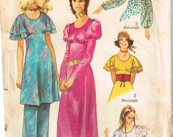 Midi Length Dress Empire Waist leg o mutton Flutter Lantern Sleeves Pants Vintage 1970 Simplicity 9356 Sewing Pattern Misses Size 12 Bust 34
