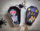 Halloween Sugar Skull Day of the Dead printable coffin party favor boxes Dia de los Muertos bright pink girly print at home DIY for candy