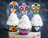 Halloween Printable cupcake wrappers and cupcake toppers Sugar Skull Day of the Dead Dia de los Muertos skeleton girly pink bright cute