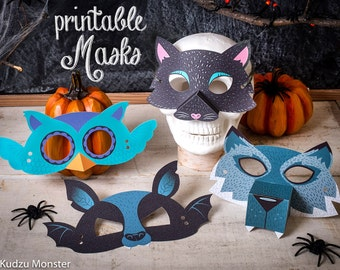 Printable Halloween Masks Kit for kids DIY Halloween activity with werewolf, bat, black cat, and owl. Great for classroom craft or party