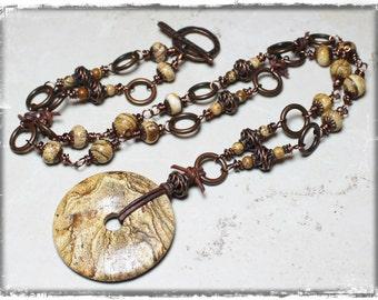 Desert Sands... Handmade Jewelry Necklace Picture Jasper Gemstone Leather Mocha Brown Bronze Antique Copper Mixed Media Earthy Artisan Boho