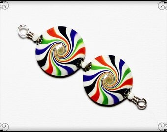 Halloween Candy... Handmade Polymer Clay Beads Bead Set Black Orange Lime Green Purple White Silver Bead Caps Swirl Spiral Earring Pair
