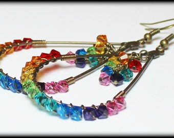 Brand New Box of Crayons... Handmade Jewelry Earrings Beaded Rainbow Crystal Antique Brass Lightweight Boho Hippie Gypsy Teardrop Long Light