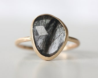 Tourmalated Quartz Ring in 14k Gold - Black Gem Ring - Gold Stackable Ring - Free Form Gem - Rose Cut Gemstone Ring - Edgy Gold Ring