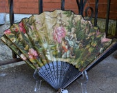 Victorian Wooded Hand Held Fan in Tapestry Style with Two Maidens and Floral Background, Edwardian, Downtown Abbey