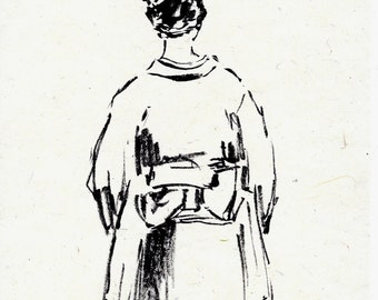 original ink drawing on handmade paper of Japanese lady in kimono