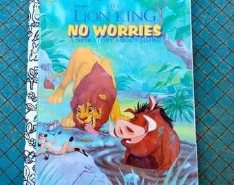 the Lion King, No Worries,  a Little Golden Book, vintage 1995, A new story about Simba