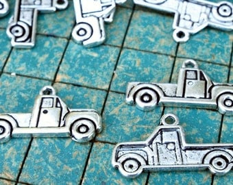 small pickup truck,  12 metal charms, hot rod, rat rod jewelry
