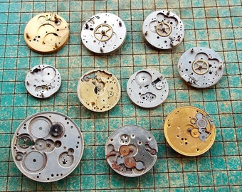 10 pocket watch frames, chassis, watch parts, steampunk, make jewelry, destash, upcycle, recycle, WYSIWYG, XB310