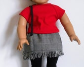 """SALE - Wool skirt with fringe, Glen plaid; red knit shirt, back leggings and fringed purse fit 18"""" dolls like American Girl"""