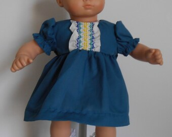 """Cobalt blue dress with puff sleeves fits 15"""" dolls like Bitty Baby"""