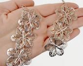 Vintage Earrings, Silver Earrings, Big Long, Flower Filagree, Boho Jewelry, Bohemian, Dangle Earrings, Gypsy Jewelry, Hippie, Ethnic, Exotic