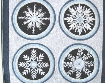 Quilted Wall Art wall hanging Winter snowflakes applique fiber art blue and white