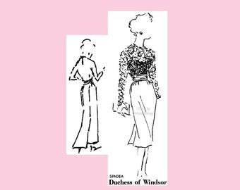 1950s Spadea Pattern 2, Duchess of Windsor Dress, Lace Top, Kimono Sleeves, Slim Skirt, Bust 42, Plus Size Vintage Sewing Patterns Uncut