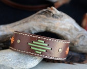 Kangaroo Leather Southwestern Style Cuff Hand Saddlery Stitched in Medium Brown, Apple Green and Orange